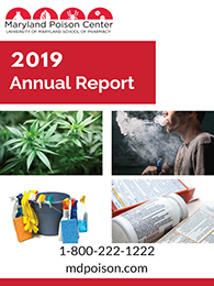 Cover image of the MPC's annual report for 2019, featuring photos highlighting substances- cannabias, vaping, cleaning products, and medicine.