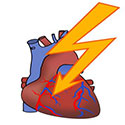 Photo of human heart being struck by lightning bolt.